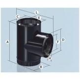 Дымоход Agni сэндвич - Тройник, эмалированный 90°, d 115*200мм