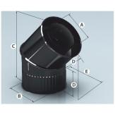 Дымоход Agni сэндвич-колено, эмалированный 135°, d 115*200мм