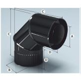 Дымоход Agni сэндвич-колено, эмалированный 90°, d 115*200мм