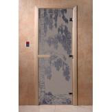 Дверь для саун DoorWood Березка синий жемчуг матовое 190*70
