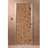 Дверь для саун DoorWood Весна цветы бронза матовое 190*70