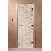 Дверь для саун DoorWood Весна цветы сатин 190*70