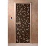 Дверь для саун DoorWood Весна цветы черный жемчуг 190*70