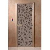 Дверь для саун DoorWood Весна цветы черный жемчуг матовое 190*70