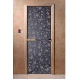 Дверь для саун DoorWood Весна цветы синий жемчуг 190*70