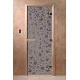 Дверь для саун DoorWood Весна цветы синий жемчуг матовое 190*70
