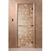 Дверь для саун DoorWood Весна цветы прозрачное 190*70