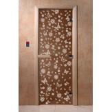 Дверь для саун DoorWood Весна цветы бронза 190*70