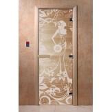 Дверь для саун DoorWood Девушка в цветах прозрачное 190*70