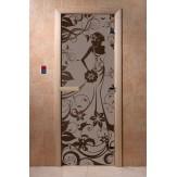 Дверь для саун DoorWood Девушка в цветах черный жемчуг матовое 190*70