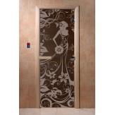 Дверь для саун DoorWood Девушка в цветах черный жемчуг 190*70