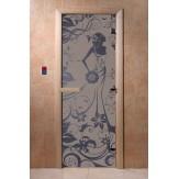 Дверь для саун DoorWood Девушка в цветах синий жемчуг матовое 190*70