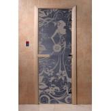 Дверь для саун DoorWood Девушка в цветах синий жемчуг 190*70