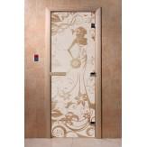 Дверь для саун DoorWood Девушка в цветах бронза матовое 190*70