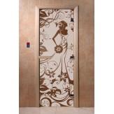 Дверь для саун DoorWood Девушка в цветах сатин 190*70