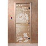 Дверь для саун DoorWood Лебединое озеро прозрачное 190*70