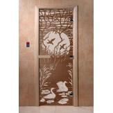 Дверь для саун DoorWood Лебединое озеро бронза 190*70