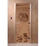 Дверь для саун DoorWood Лебединое озеро бронза матовое 190*70
