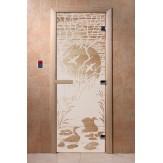 Дверь для саун DoorWood Лебединое озеро сатин 190*70