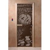 Дверь для саун DoorWood Лебединое озеро черный жемчуг 190*70