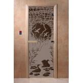 Дверь для саун DoorWood Лебединое озеро черный жемчуг матовое 190*70