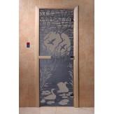 Дверь для саун DoorWood Лебединое озеро синий жемчуг 190*70