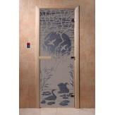 Дверь для саун DoorWood Лебединое озеро синий жемчуг матовое 190*70