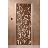 Дверь для саун DoorWood Бамбук и бабочки бронза 190*70