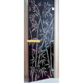 Дверь для саун DoorWood Бамбук и бабочки черный жемчуг матовое 190*70