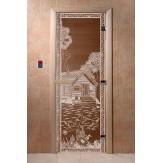 Дверь для саун DoorWood Банька в лесу бронза 190*70