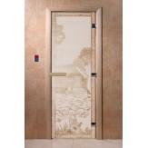 Дверь для саун DoorWood Банька в лесу сатин 190*70