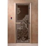 Дверь для саун DoorWood Банька в лесу черный жемчуг 190*70