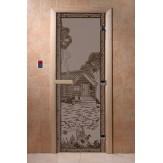 Дверь для саун DoorWood Банька в лесу черный жемчуг матовое 190*70