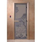Дверь для саун DoorWood Банька в лесу синий жемчуг матовое 190*70