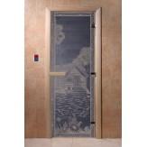 Дверь для саун DoorWood Банька в лесу синий жемчуг 190*70