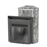 Дровяная печь для бани Feringer Ламель Оптима с открытой каменкой, облицовка жадеит, обрамление металл, ламели наборные