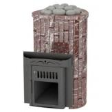 Дровяная печь для бани Feringer Ламель мини с открытой каменкой облицовка мрамор россе леванте обрамление камень, ламели наборные