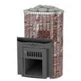 Дровяная печь для бани Feringer Ламель мини с открытой каменкой, облицовка  мрамор россе леванте обрамление металл, ламели наборные