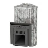 Дровяная печь для бани Feringer Ламель мини с открытой каменкой, облицовка жадеит обрамление металл, ламели цельные