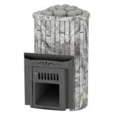 Дровяная печь для бани Feringer Ламель мини с открытой каменкой, облицовка жадеит, обрамление камень, ламели наборные