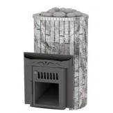 Дровяная печь для бани Feringer Ламель мини с открытой каменкой облицовка жадеит обрамление металл, ламели наборные