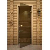 Дверь для сауны AKMA light бронза, 6мм. 70х190см. (коробка сосна)