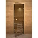 Дверь для сауны AKMA light extra рис. Банька, 8мм. 70х190см. (коробка осина)