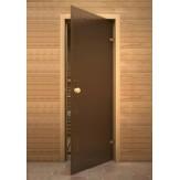 Дверь из стекла для саун и бань AKMA кноб  light София 6 мм 70х190 бронза матовая осина