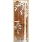 Дверь из стекла для саун и бань АКМА 700*1900 рисунок Лес-V2 монохром