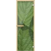 Дверь из стекла для саун и бань AKMA 700*1900 Листья зелень полноцвет