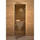 Дверь для саун и бань АКМА 700*1900 рисунок Девушка монохром
