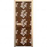 Дверь из стекла для саун и бань AKMA 700*1900 рисунок Белые листья монохром