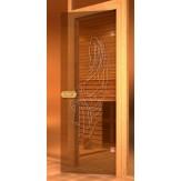 Дверь для сауны АКМА 700*1900 бронза матовая с рисунком Нимфа