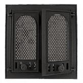 Каминное и печное литье 126 НТТ каминная дверца со стеклом двухстворчатая